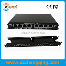 Small outdoor high power rackmountable 8 port passive PoE switch 24V 48V with good 60W power adapter