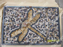 Pebble mosaic tile on net with special pattern