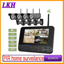 PIR home surveillance 2.4Gz wireless digital night vision 15m outdoor camera 7 inch LCD receiver SD card DVR