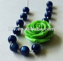 Floral Statement Necklace Blue Glitter Lucite Lime Green Bead Flower Necklace