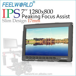 2015 hot sale 17mm thickness IPS 1280x800 resolution Peaking Focus Assist Field Monitor 7 inch pro video display cheap
