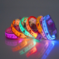 2015 New Pet Dog Collar Night Safety LED Light-up Flashing Glow in the Dark Lighted Dog sailor pattern Collars