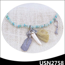 feather tassel turquoise wolf tooth bead jade necklace designs