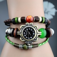 Features Significantly Beads Genuine Leather Weave Bracelet Women Fancy Dress Watch