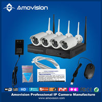 Touch Screen Network Video Recorders -- Wireless 4CH CCTV Kit with 4pcs onvif 720P plug and play IP Camera