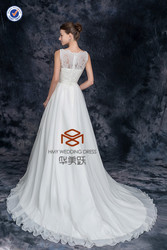 New Arrival SHMY-W0040 Chiffon Lace Appliqued Beaded Belt with Flowers Bridal Dress Maxi Dress