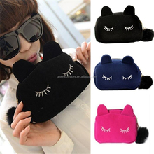 2015 Free shipping! Fashion Small Cute Lovely Women's Handbag Flannel Cartoon Clutches Cat Beauty Make-up Evening Bags