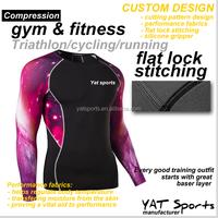 Fitness clothing Triathlon sports training Custom design printing pattern Sublimation Long sleeve compression shirt
