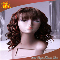 Top Sale Premium Quality 100% Brazilian Human Hair Full Lace Wig With Bangs