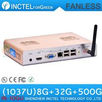 Media Center Computer Fanless Mini PC HTPC Intel Celeron 1037U 8G RAM 32G SSD 500G HDD Preinstall OpenELEC XBMC