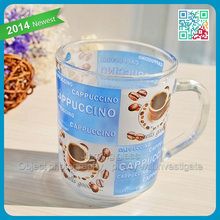 Cheap Machine Pressed Classic Cappuccino Long Black Coffee Mug Blue White Printed Glass Coffee Cup Mug