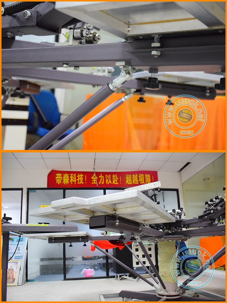 6 color 6 station carousel manual rotary t-shirt silk screen printing machine price
