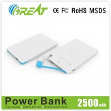 Portable Ultra-thin mini 2500mah power banks for Samsung