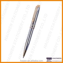 Oblique top metal ball point pen