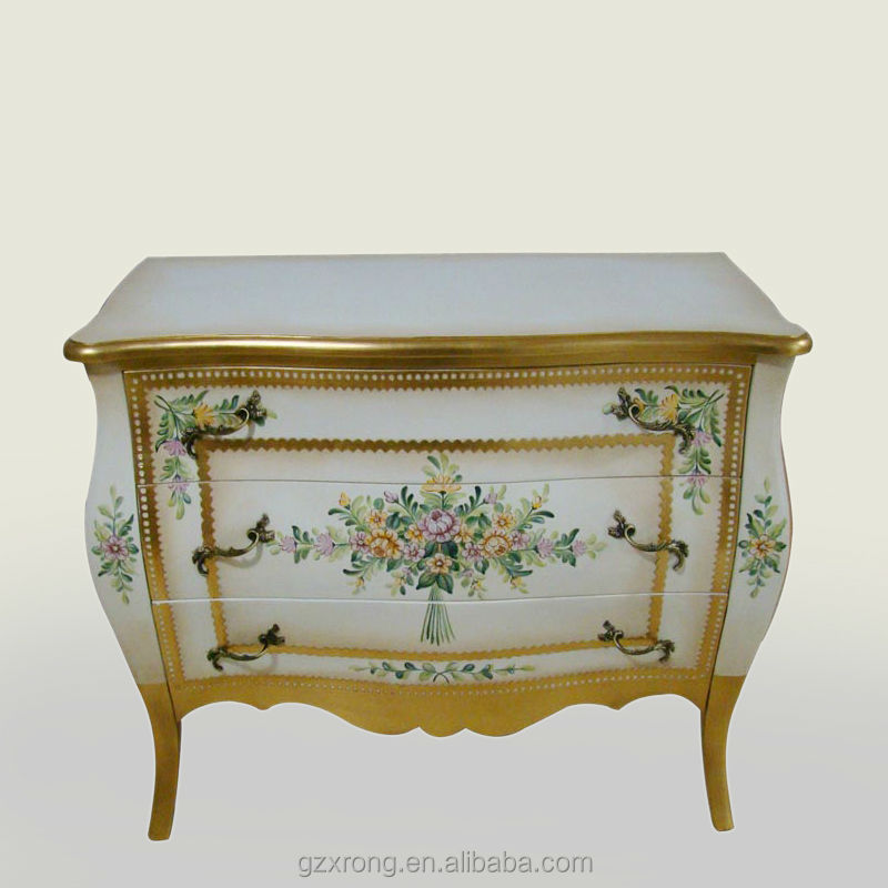 French Style Furniture Hand Painted 3 Drawers Storage