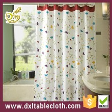Polyester hookless transparent printed PEVA / PVC showr curtain of butterflycolorful dot