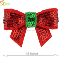 2015 New Arrival Christmas Festival Sequins Bow Without Clip Chic Winter Baby Girl DIY Hair Accessories
