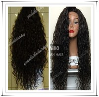 "Stock! Hot Sale 24"" #1b 100% Virgin Peruvian Hair Lace Front Wigs Dep loose Wave Remy Human Hair with Baby Hair"