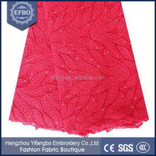 Made in China high quality african guipure lace fabric in stock/ embroided fabric by yard for summer dresses