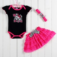 Personalized layette baby romper With floral skirt And Headband girl clothes Infant Wear 3SETS CS50526-12