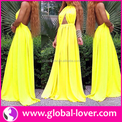 2015 hot selling long gowns yellow