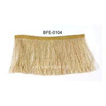 Fashion rayon gold lurex dance costume fringe