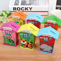 2016 Wooden house toy money saving box,Cute wooden money saving bank,High quality piggy bank money boxes