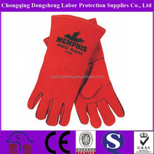 One piece back full lining comfortable tool safety work cow split leather welding gloves with Sew black layering