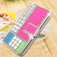 Luxury rhinestone studded wallet leather phone case for MOTO e2 bling cell phone covers for MOTO e2