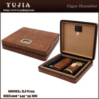 Best YuJia custom leather cohiba cigar humidor promotion gift set wooden cigar boxes for sale