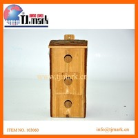rectangle wooden bird house with bark roof