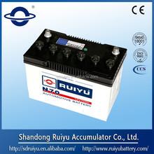 Korea quality auto battery 12V70AH, Maintenance free auto battery