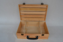 wooden wine box with leather handle