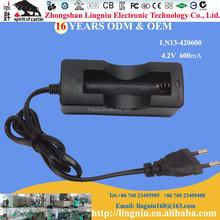 Hot sell 4.2V 450mA single slot portable 18650 li-ion battery charger