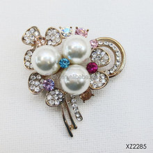 Party wear with rhinestones pearl brooch colorful crystal dotted flower brooch pearl flower cluster brooch
