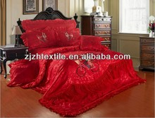 china manufacture bedsheet red colour princess lace bedsheets