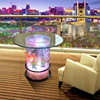 LED light water bubble decor coffee table cylindrical glass aquariums