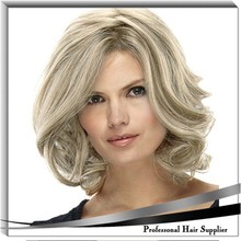 YILU fashion full head synthetic wigs brown blonde highlights