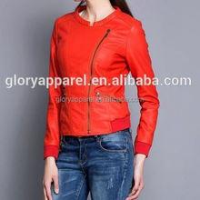 Stylish collarless surplice short locomotive PU Jacket Womens 2015 new style leather jacket