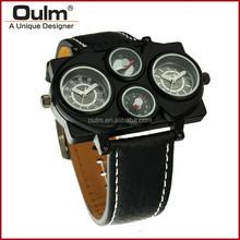 oulm wholesale wrist watch, pc21 movt wristwatch, compass decorated quartz wrist watch