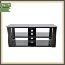 glass tv rack home furniture lcd tv wall unit acacia wood tv unit RN1205