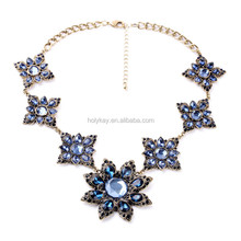 2015 top fashion Dazzling Blue Crystal Blooming Flowers Party Dress Accessories Original jewelry design Sapphire Necklace Facto