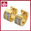 18k pendientes de oro para los hombres y las mujeres pendientes de acero inoxidable con la piedra
