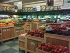 Varejo frutas e vegetais expositores de chão de madeira mesa de fixação de exibição