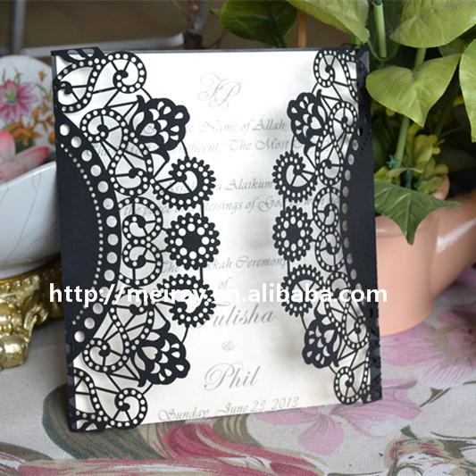 Romantic and elegant arabic design laser cut indian wedding flower lace invitation card flowers laceg stopboris Choice Image