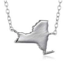 925 sterling plain silver new york US state map charm necklace