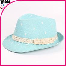 Wholesale 2015 children a new hat Lace lake blue small hearts Children's jazz cap hat