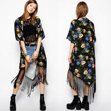 women fashion instyles Summer Ladies vintage Boho Floral Tassels maxi kimono coat Cardigan blouse SV004979 boutique clothing