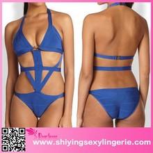 sex sex Royal Blue Cut-out Halter Bandage Teddy Swimsuit india sex photos new models one piece bikini