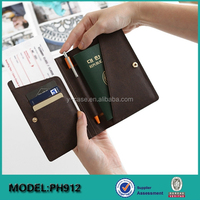 Factory price OEM Leather RFID Blocking Passport With Card Holder